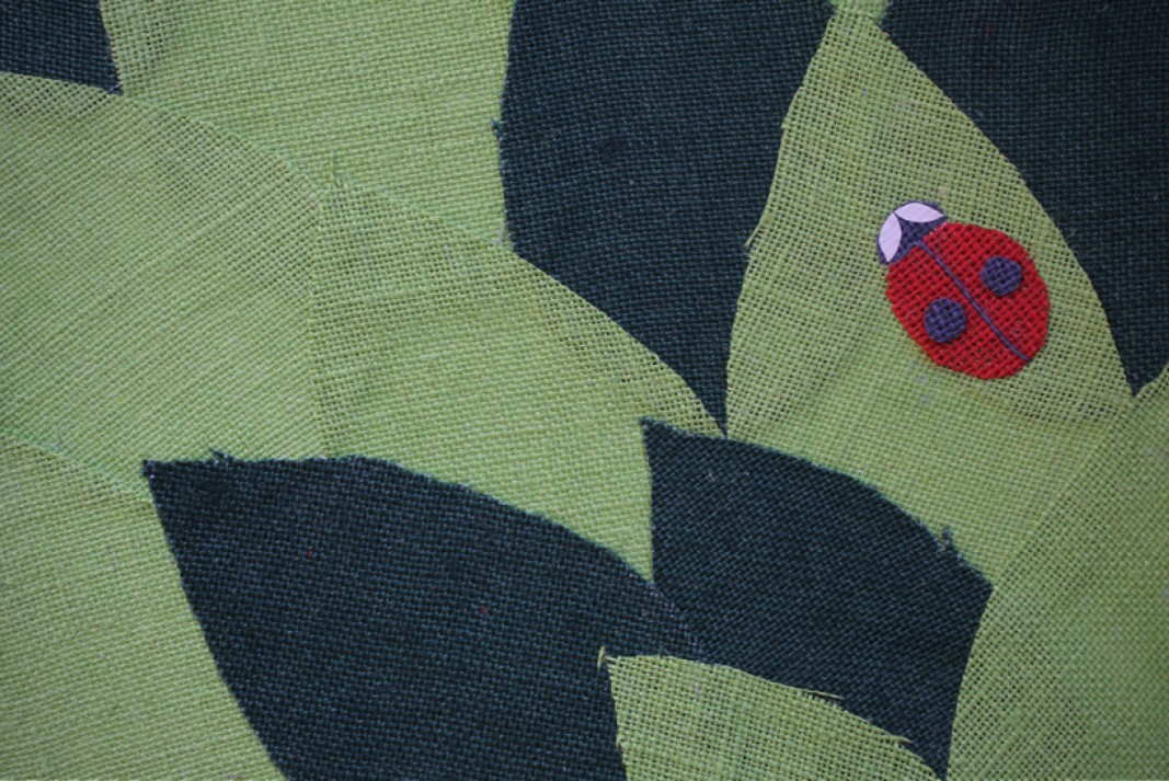 Birth card Kas collage sackcloth detail